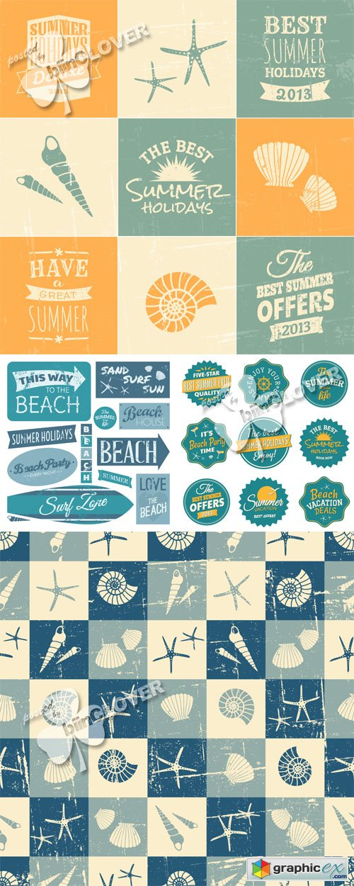 Vector Vintage design elements for summer 0457