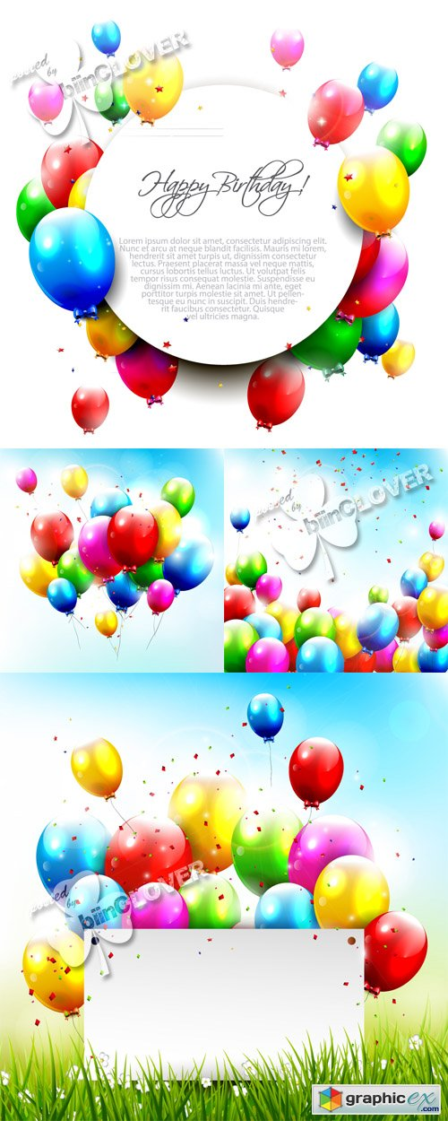 Vector Happy birthday cards 04567