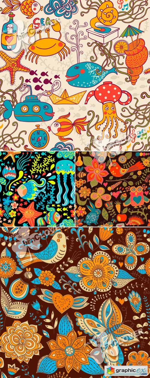 Vector Gorgeous seamless floral pattern 0457