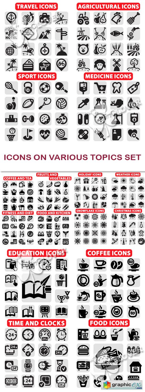 Icons on various topics set 0457