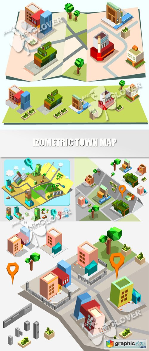 Vector Isometric town map 0457