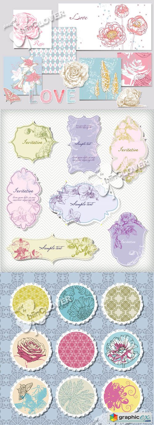 Vector Floral frames, labels and design elements 0456