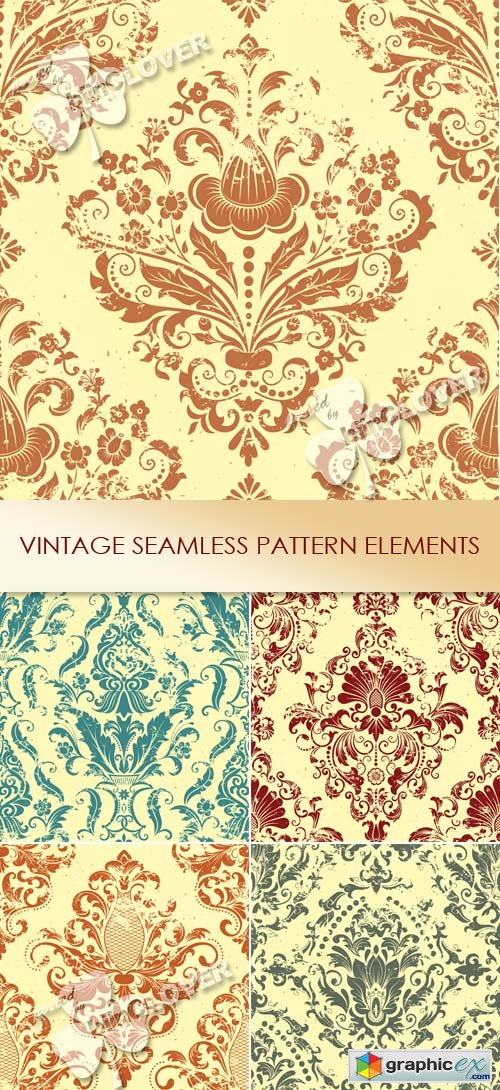 Vector Vintage seamless pattern elements 0456