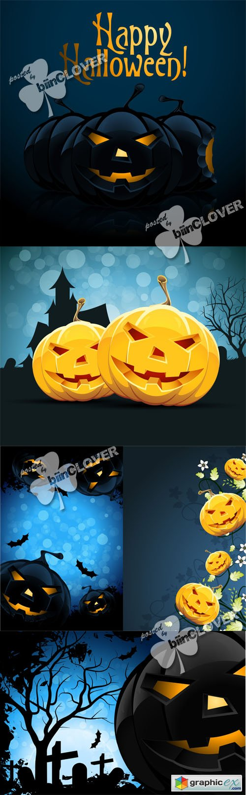 Vector Halloween night cards 0455