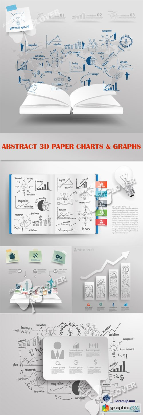 Vector Abstract 3D paper charts and graphs 0454