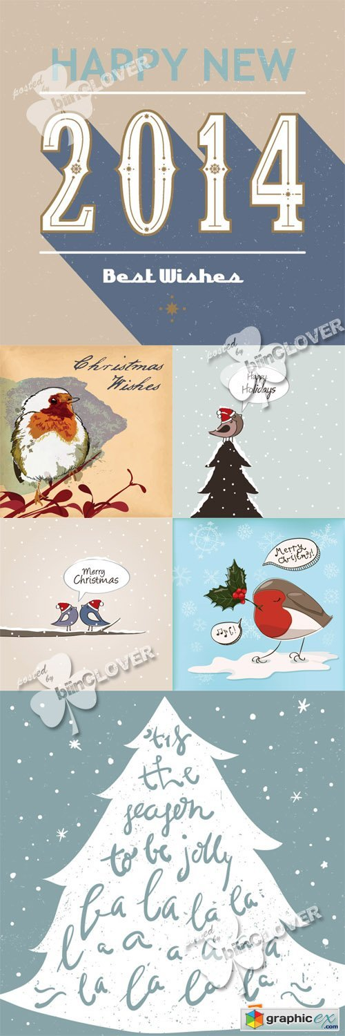 Vector Happy holidays cards 0551