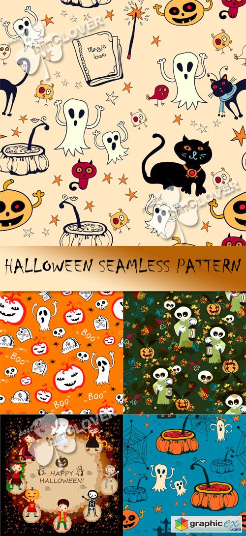 Vector Halloween seamless pattern 0451