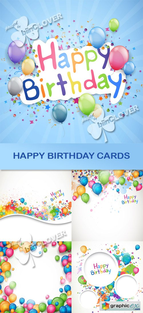 Vector Happy birthday cards 0451