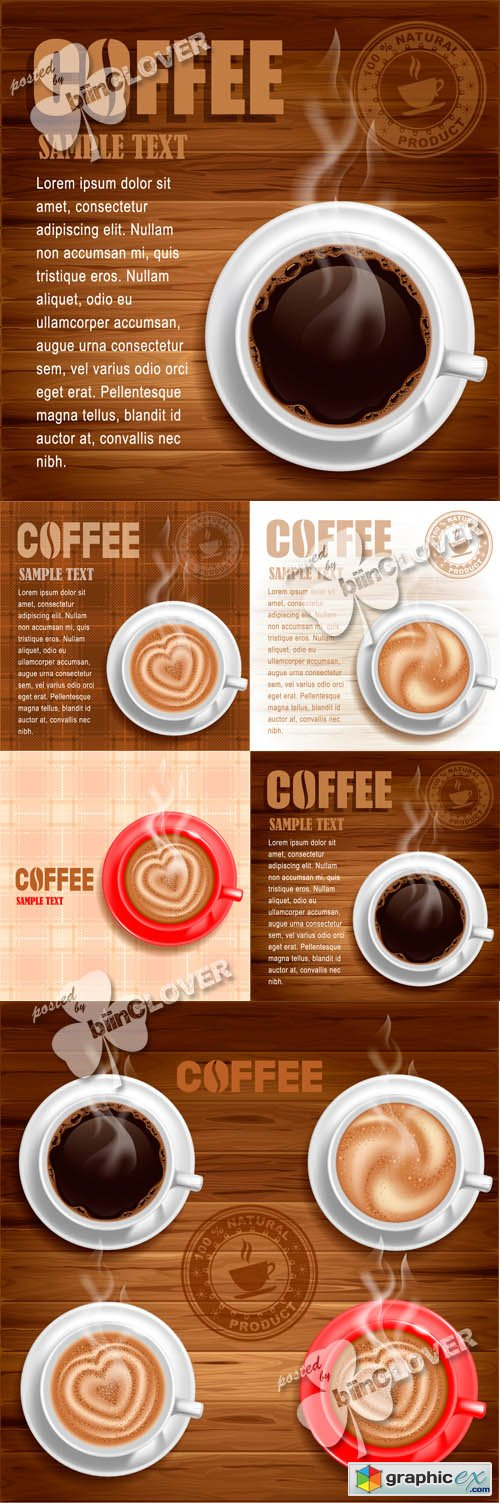 Vector Cup of coffee backgrounds 0446