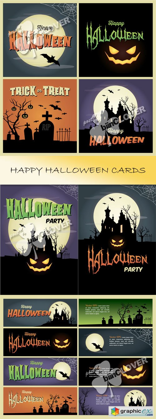 Vector Happy halloween cards 0446