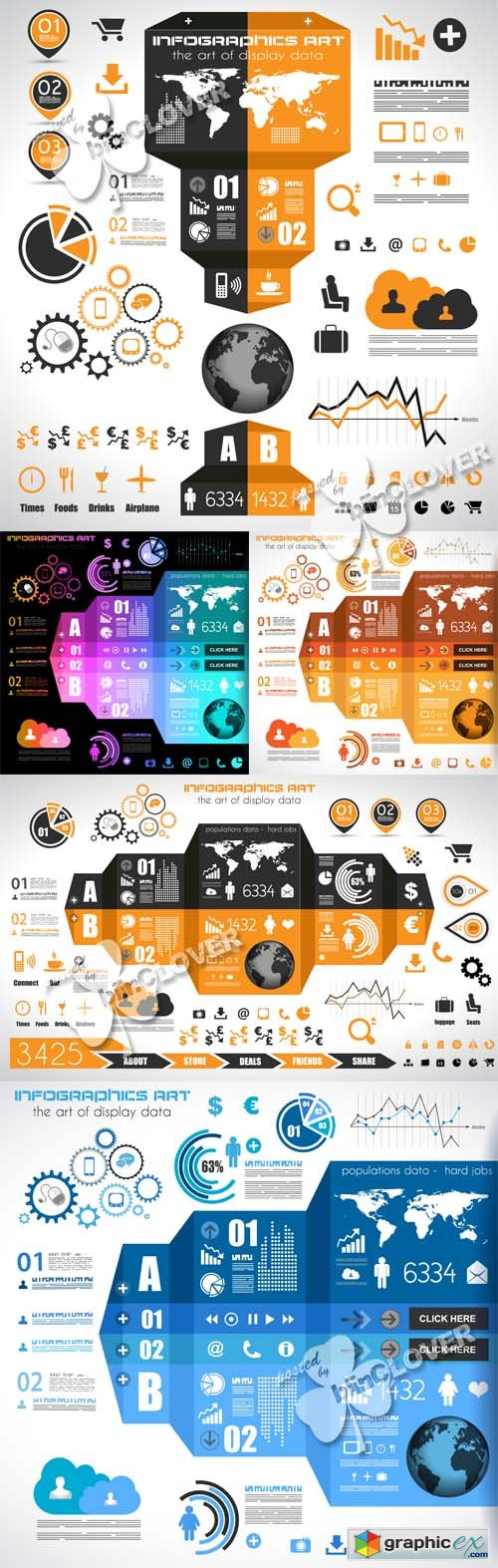 Vector Infographic design elements and tags 0444