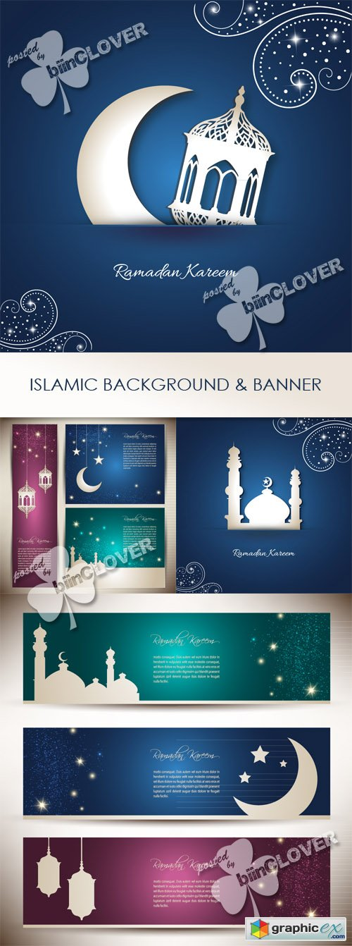 Vector Islamic background and banner 0443