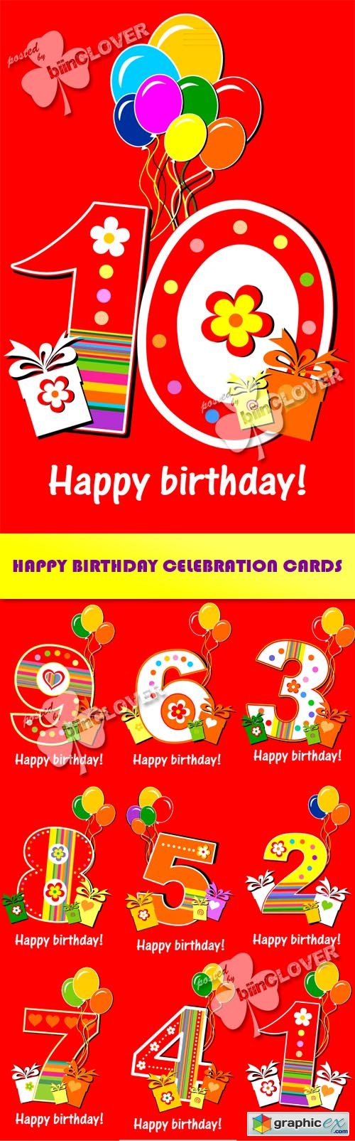Vector Happy birthday celebration cards 0422