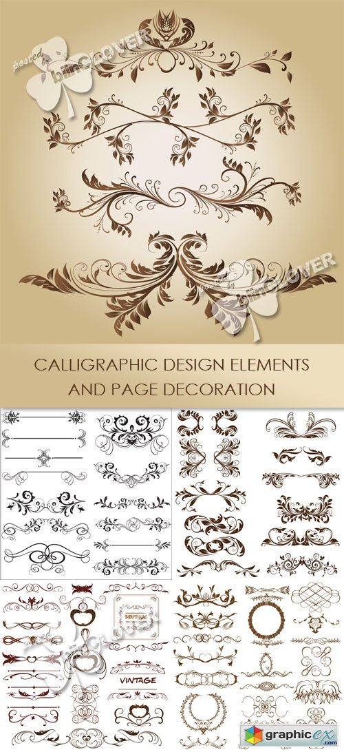 Vector Calligraphic design elements and page decoration 0440