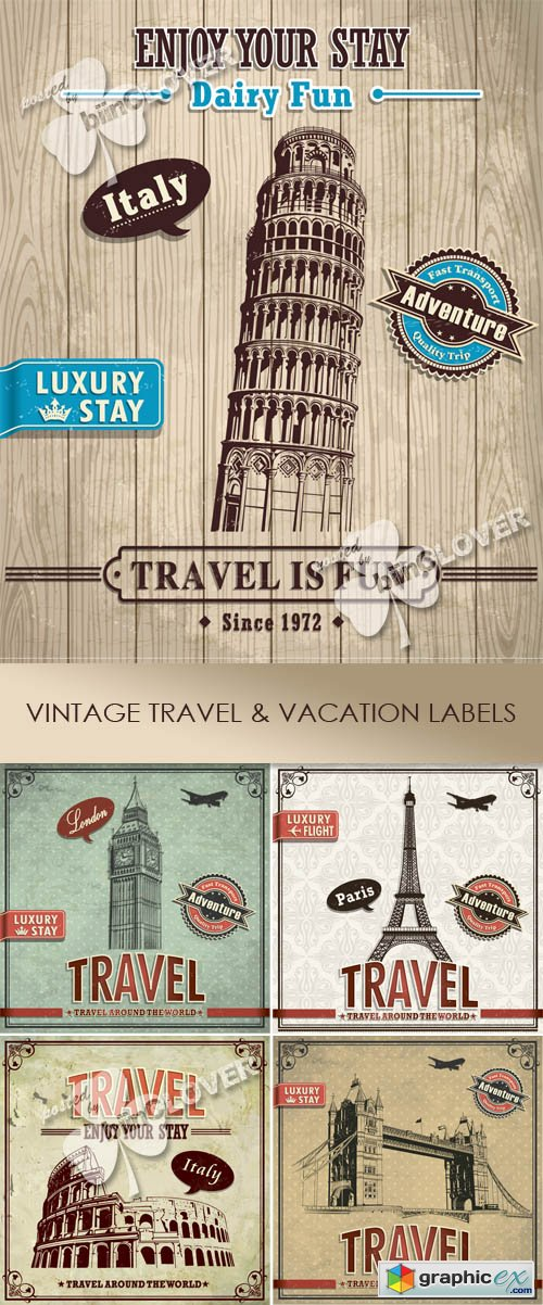 Vector Vintage travel and vacation labels 0440