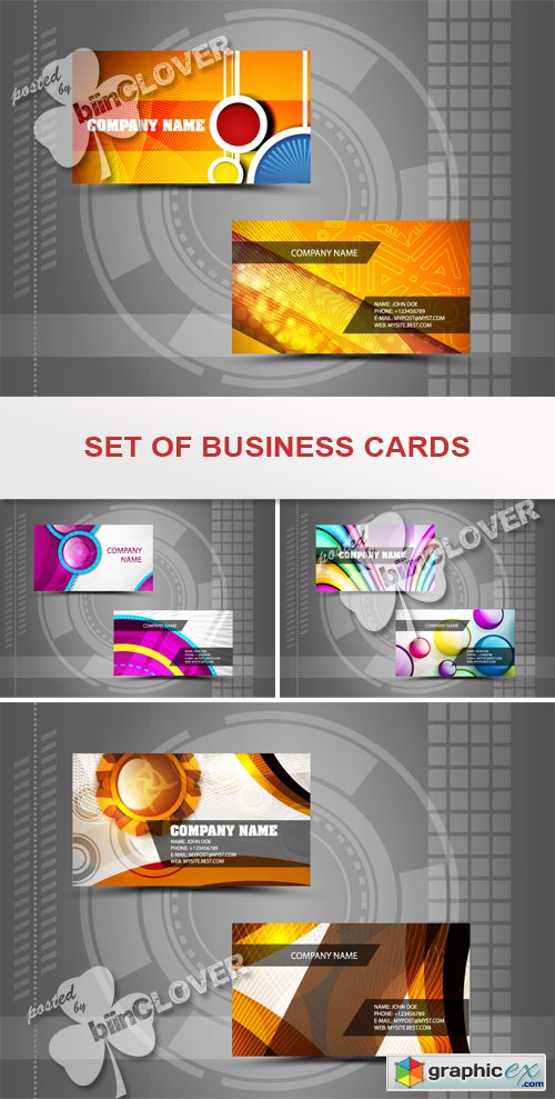 Vector Set of business cards 0437
