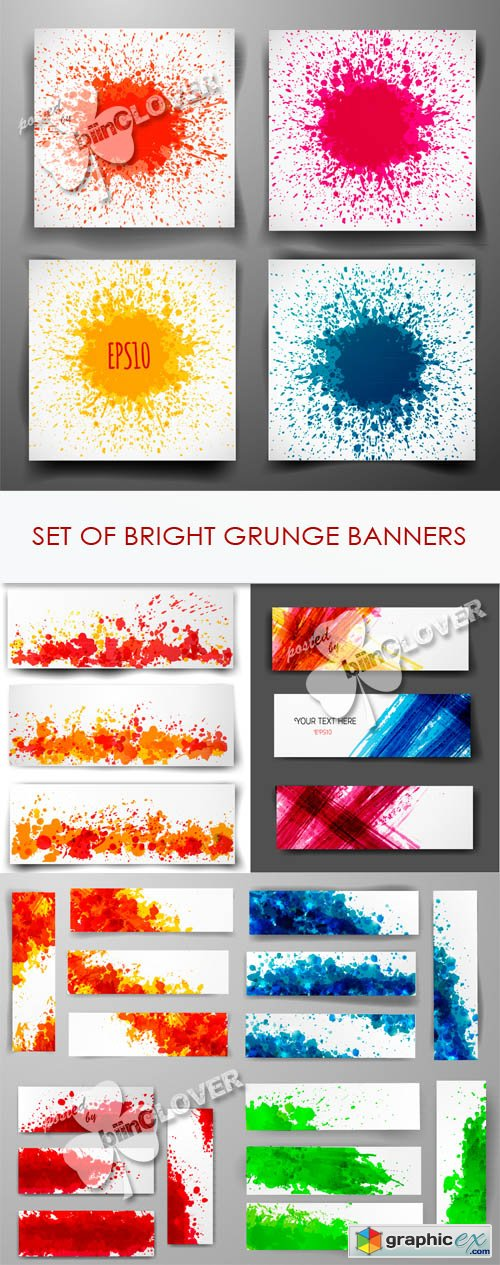 Vector Set of bright grunge banners 0438