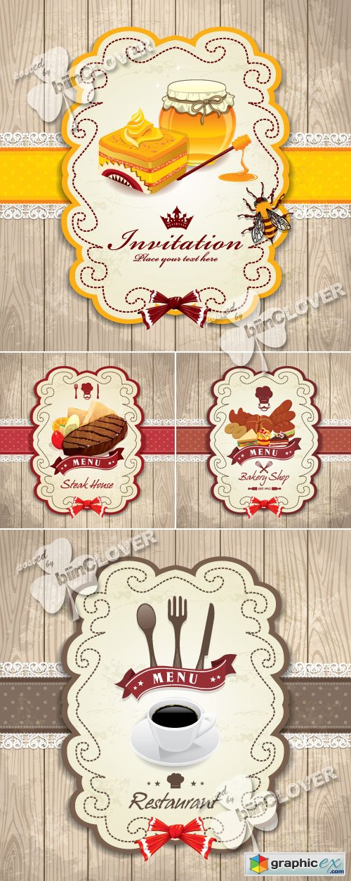 Vector Card with food emblems 0434