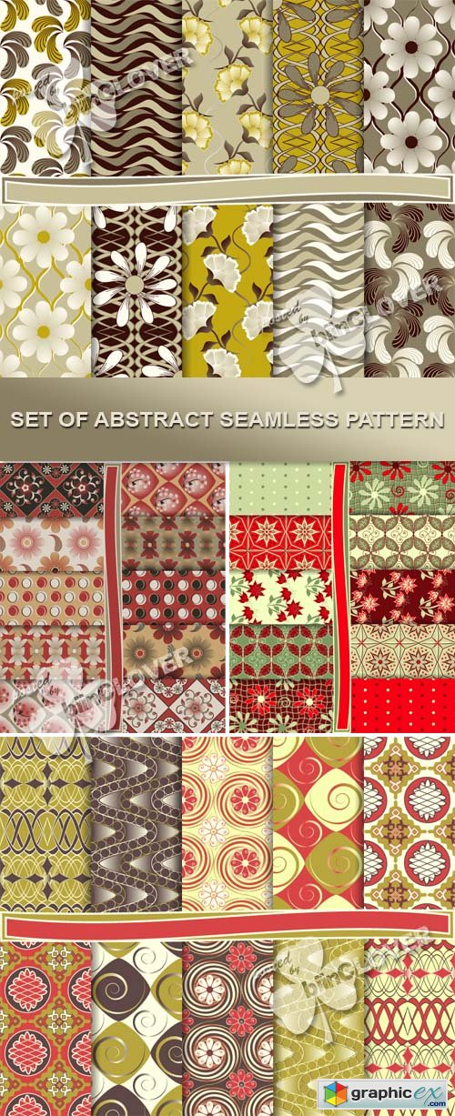 Vector Set of abstract seamless pattern 0435