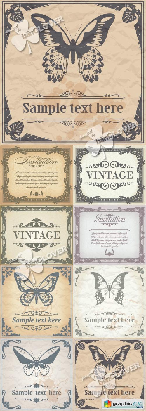 Vector Set of vintage frames 0433