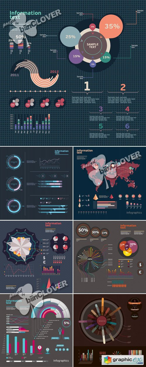 Vector Set of infographic design elements 0430