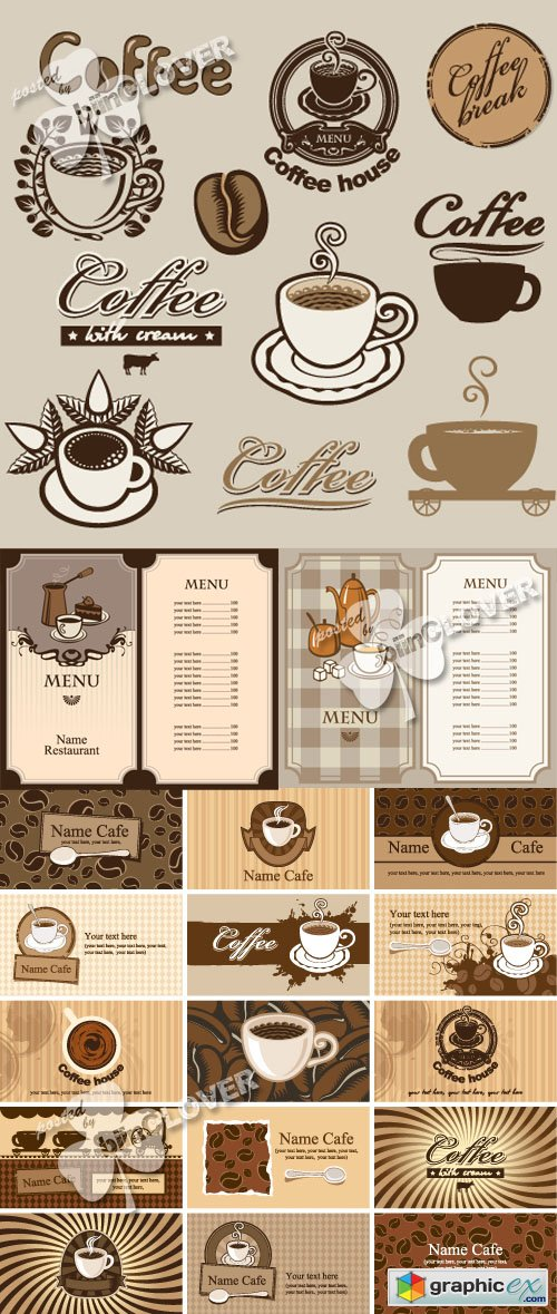 Vector Coffee theme design 0429