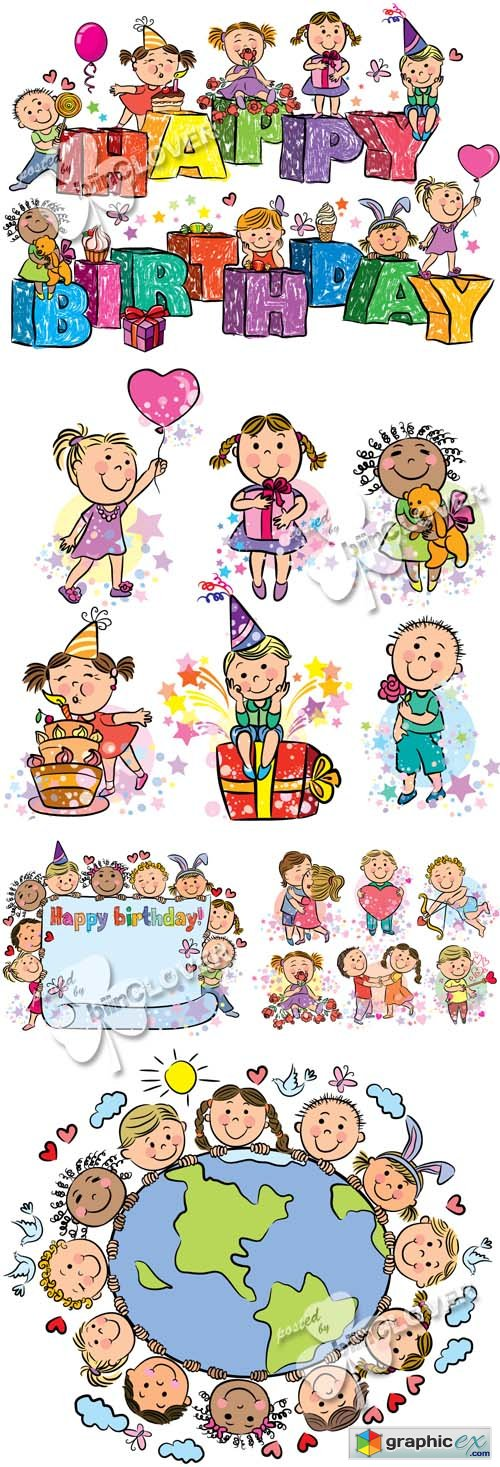 Vector Holiday illustrations with kids 0428
