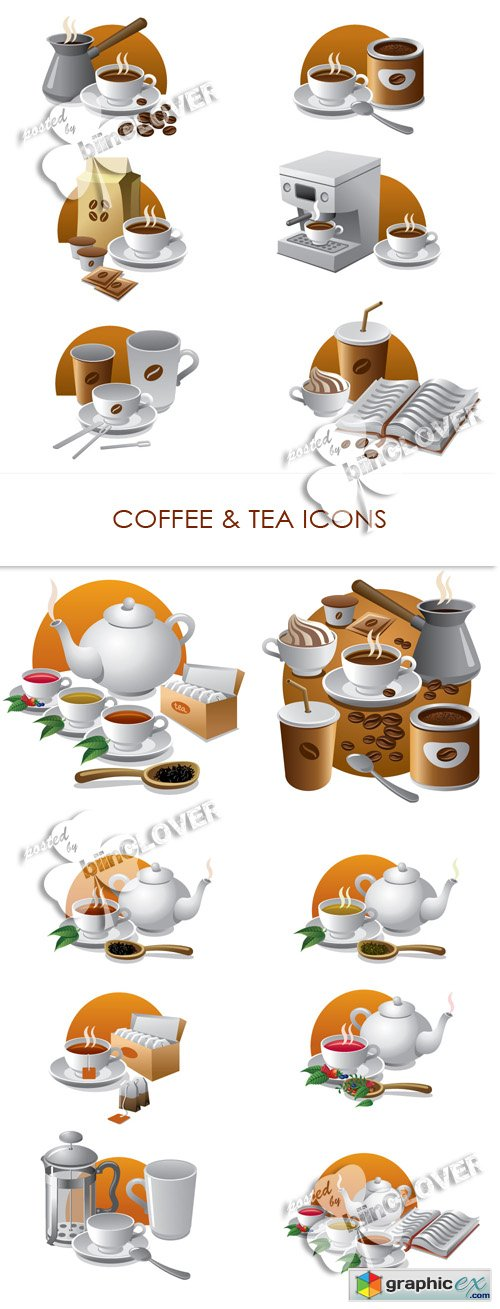 Vector Coffee and tea icons 0426