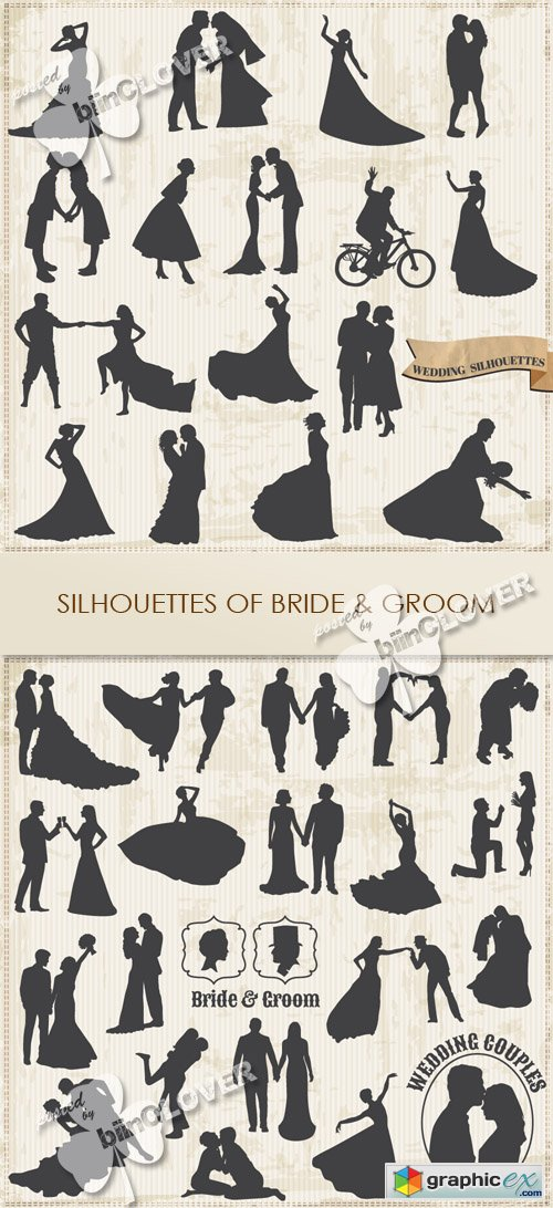 Vector Silhouettes of bride and groom 0426