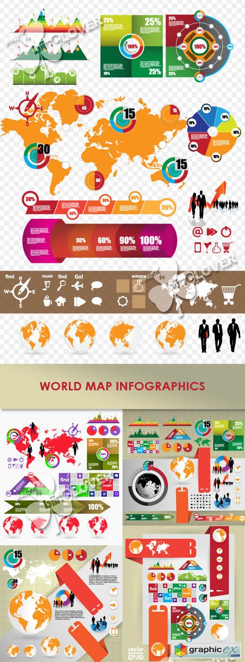 Vector World map infographics 0425