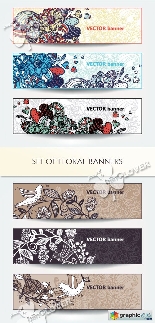 Vector Set of floral banners 0421