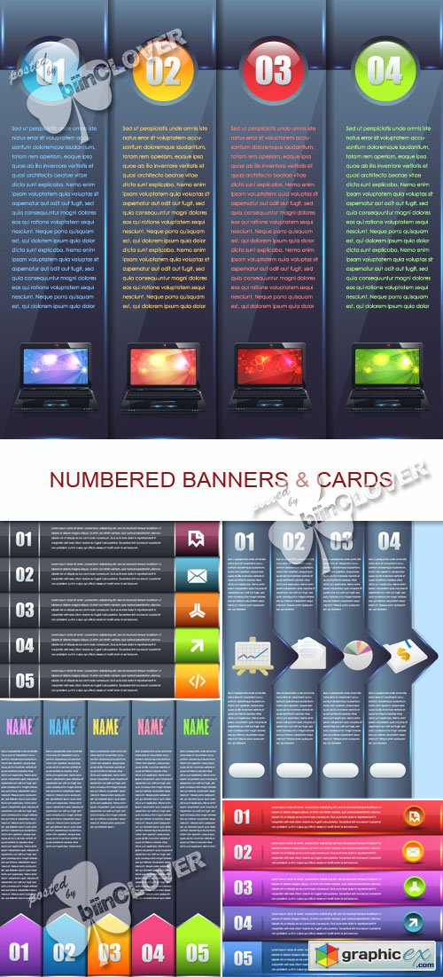 Vector Numbered banners and cards 0417