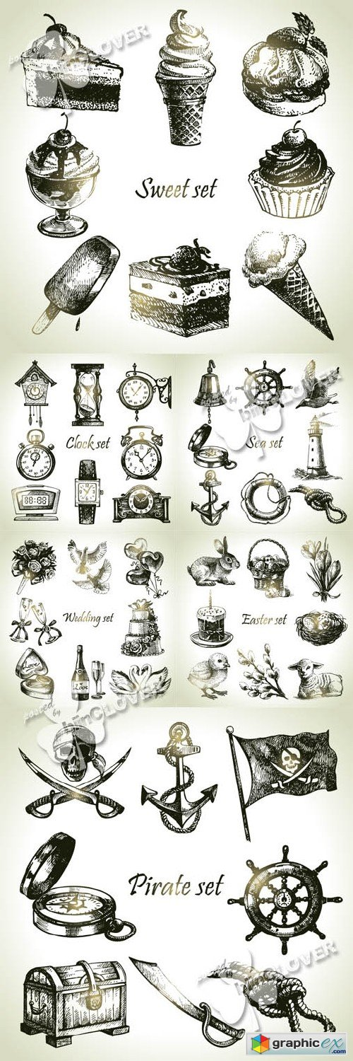 Vector Set of hand drawn illustrations and objects 0416