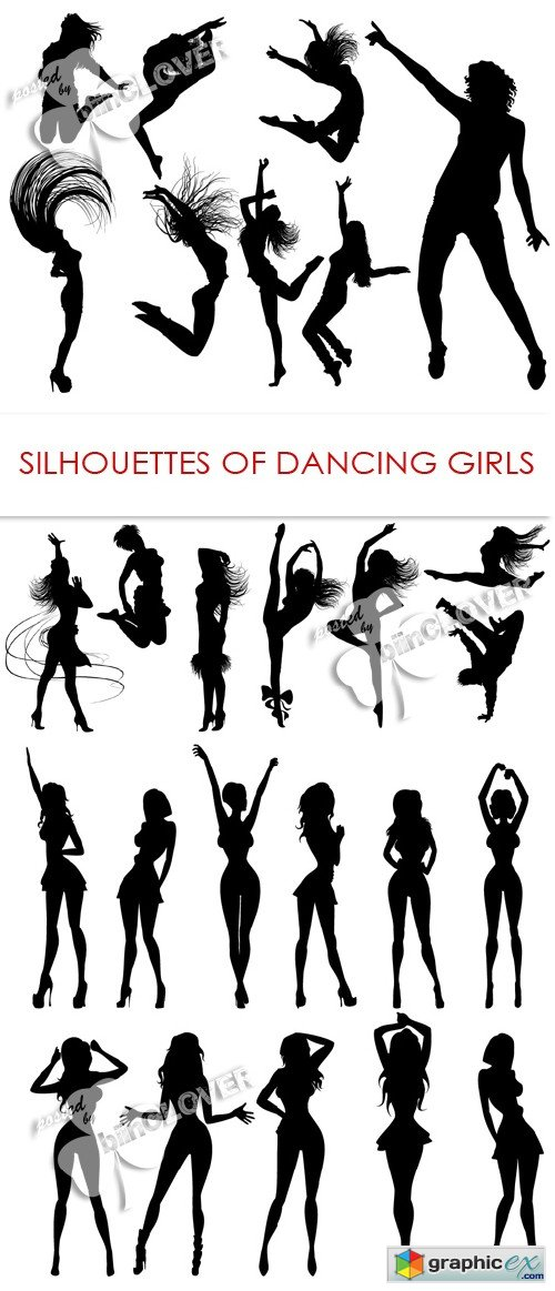 Vector Silhouettes of dancing girls 0416