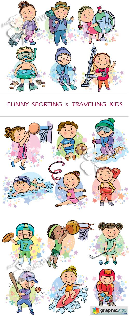 Vector Funny sporting and travelling kids 0415