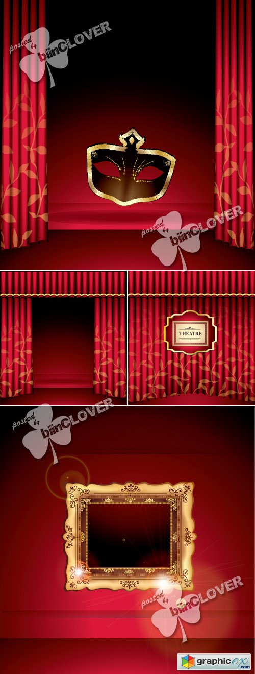 Vector Red curtain with frame and mask 0414