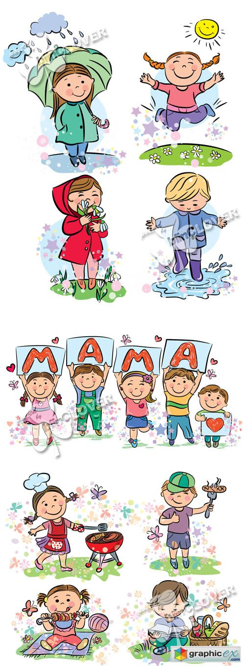 Vector Funny cartoon kids 0413