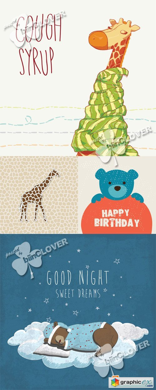 Vector Cute cards with cartoon animals 0555