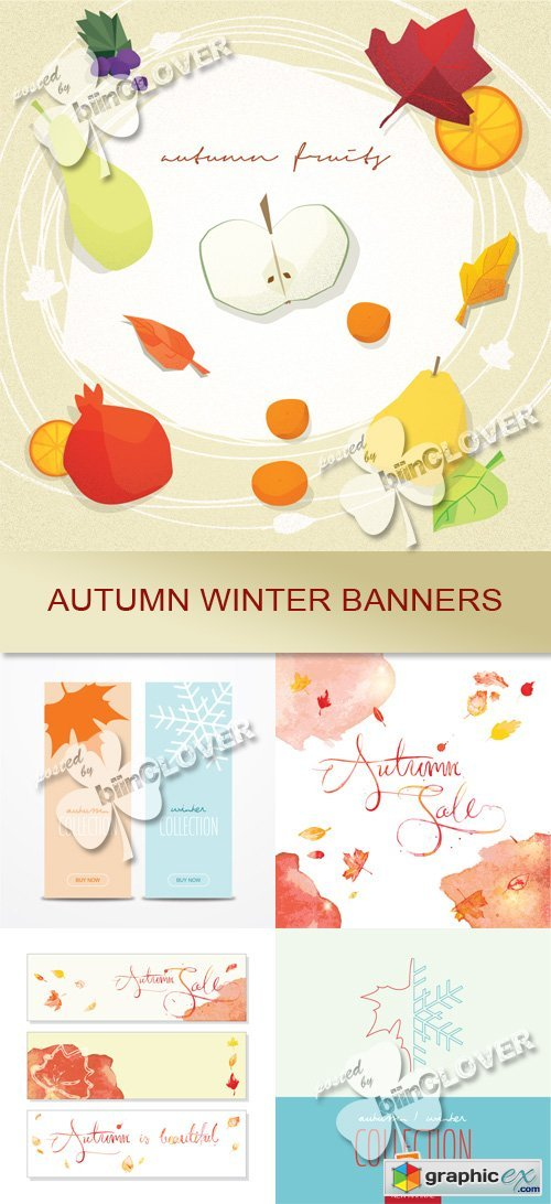Vector Autumn winter banners 0555