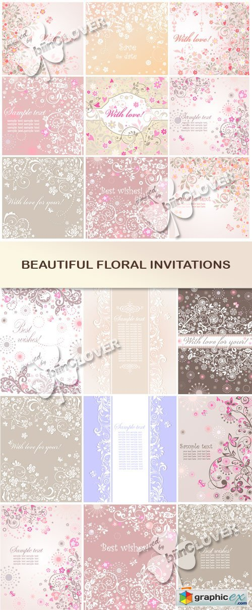 Vector Beautiful floral invitations 0554
