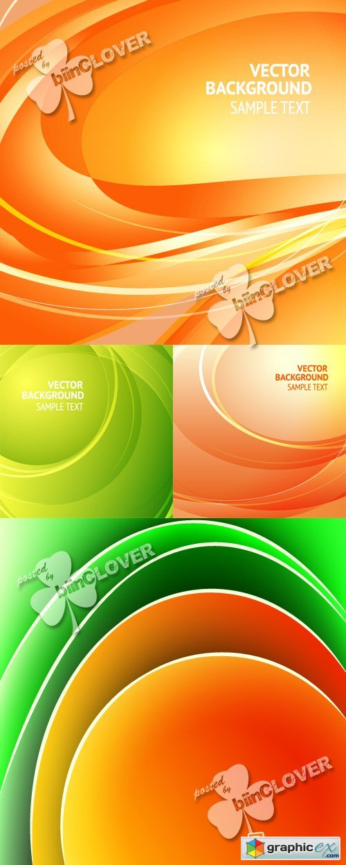 Vector Abstract orange and green background 0398