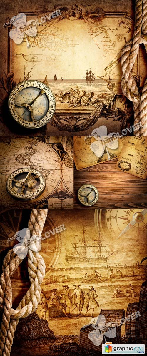Vector Old compass and vintage maps 0396