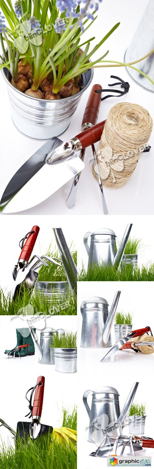 Garden tools and green grass 0394