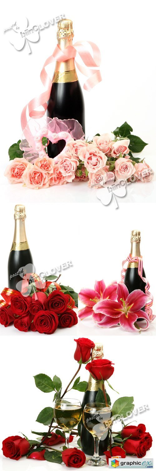Champagne with roses and lilies 0382