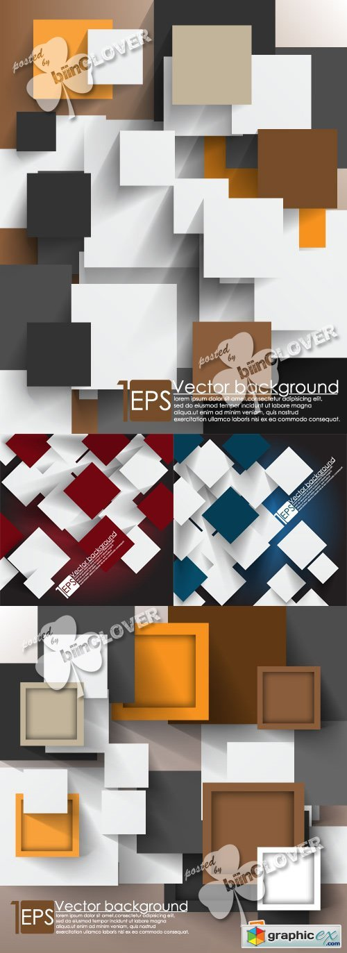Vector Overlapping squares background 0381