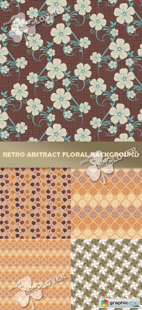 Vector Retro abstract floral background 0381
