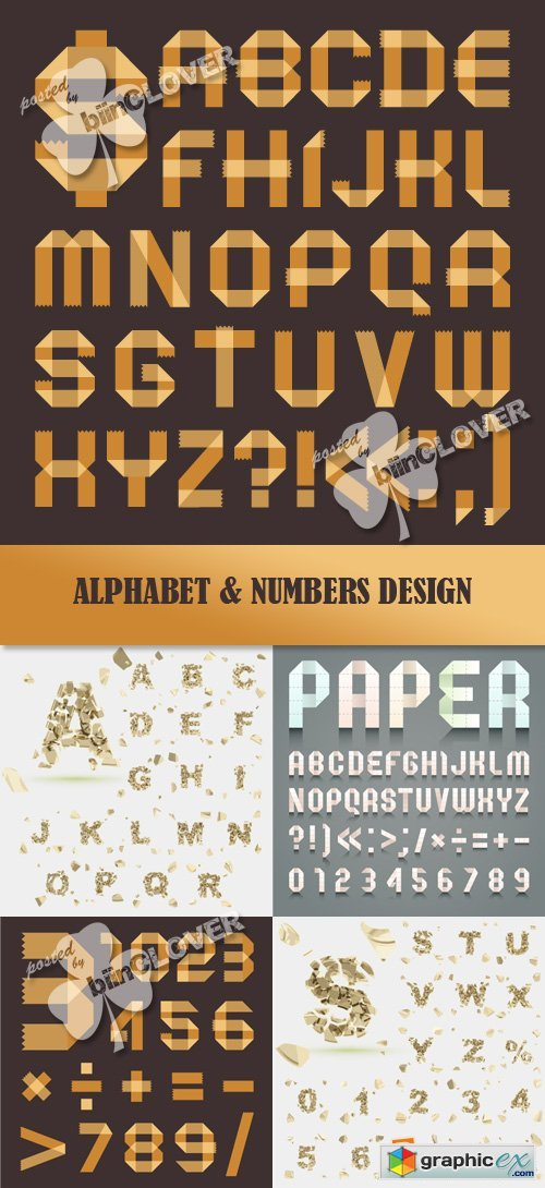Vector Alphabet and numbers design 0380