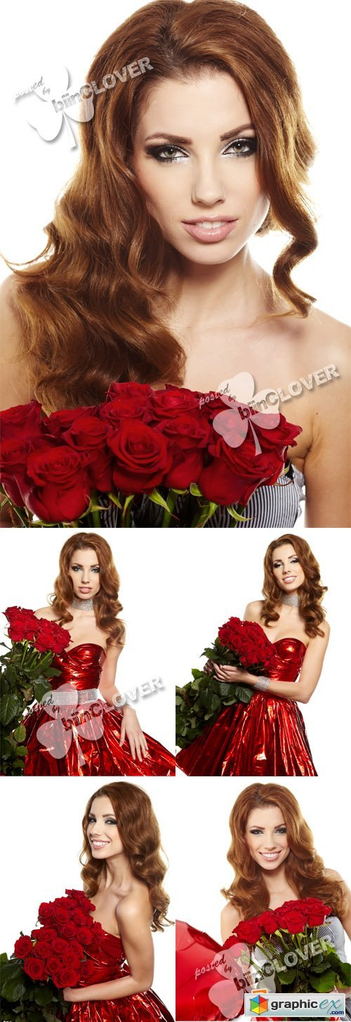 Attractive girl with red roses 0378