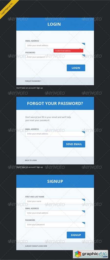 Clean, Clear and Bold Login Signup Forms