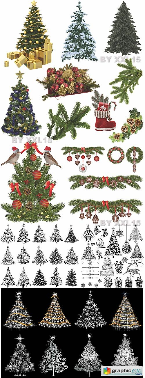 Vector Christmas trees and decorations